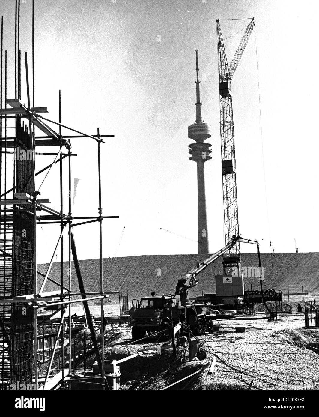 geography / travel, Germany, Munich, Olympic area, Olympic Stadium, construction site, August 1969, Additional-Rights-Clearance-Info-Not-Available - Stock Image