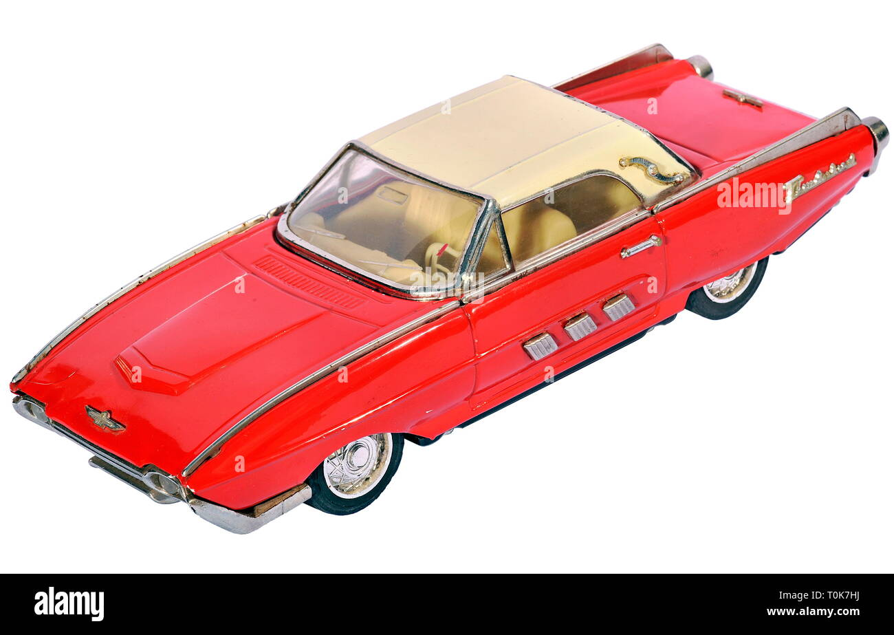 toys, toy car, Ford Thunderbird, producer unknown, this toy car may also be made in the 1970s, USA, 1961, Additional-Rights-Clearance-Info-Not-Available - Stock Image