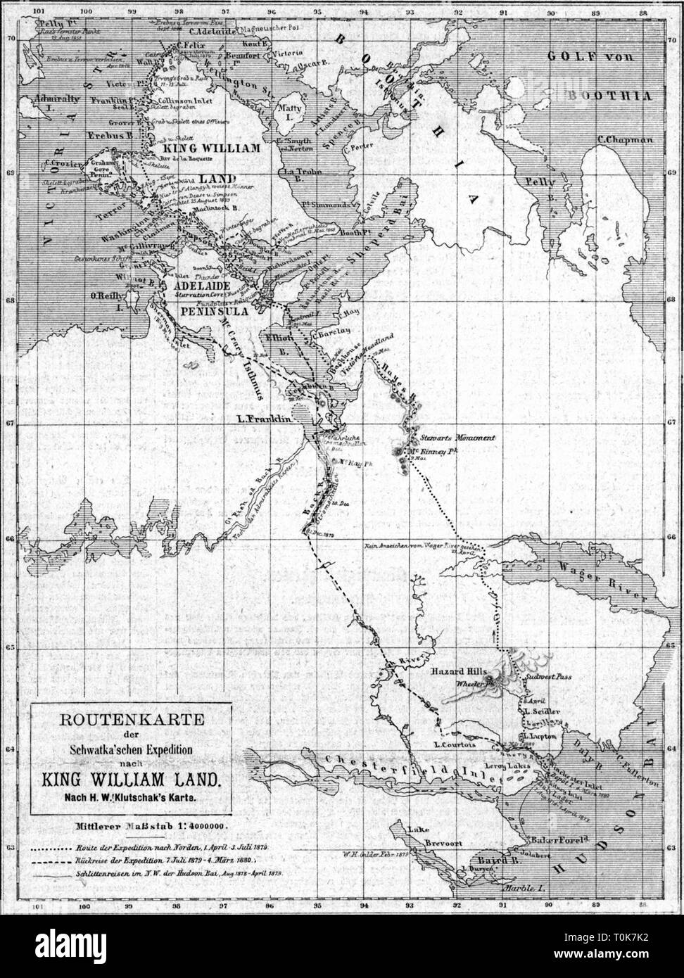 cartography, map, America, Canada, Nunavut, Baffin peninsula, with the route of the expedition of Frederick Schwatka 1879 - 1880, wood engraving after drawing of Heinrich Klutschak, 1881, search for John Franklin, Baffinland, Hudson Bay, King William Island, Adelaide peninsula, Boothia, Wager river, Chesterfield Inlet, Northwest Territories, North-west territory, District of Keewatin, North America, 19th century, historic, historical, Additional-Rights-Clearance-Info-Not-Available - Stock Image