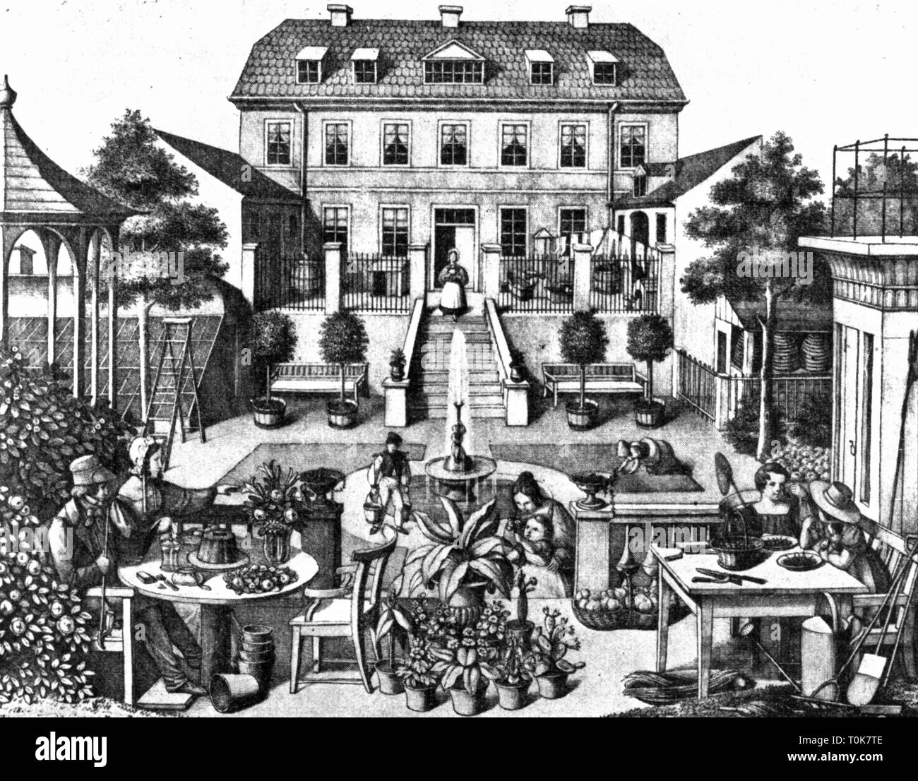 gastronomy, inns, tavern in Prussa, exterior view,  tithograph, 19th century, 19th century, graphic, graphics, tavern, hotel, restaurant, taverns, inn, inns, guest, guests, table, tables, chairs, chair, sitting, sit, terrace, terraces, garden, gardens, flowers, flower, fountain, fountains, steps, building, buildings, water carrier, service, waitress, waitresses, historic, historical, female, woman, women, male, man, men, child, children, Additional-Rights-Clearance-Info-Not-Available - Stock Image