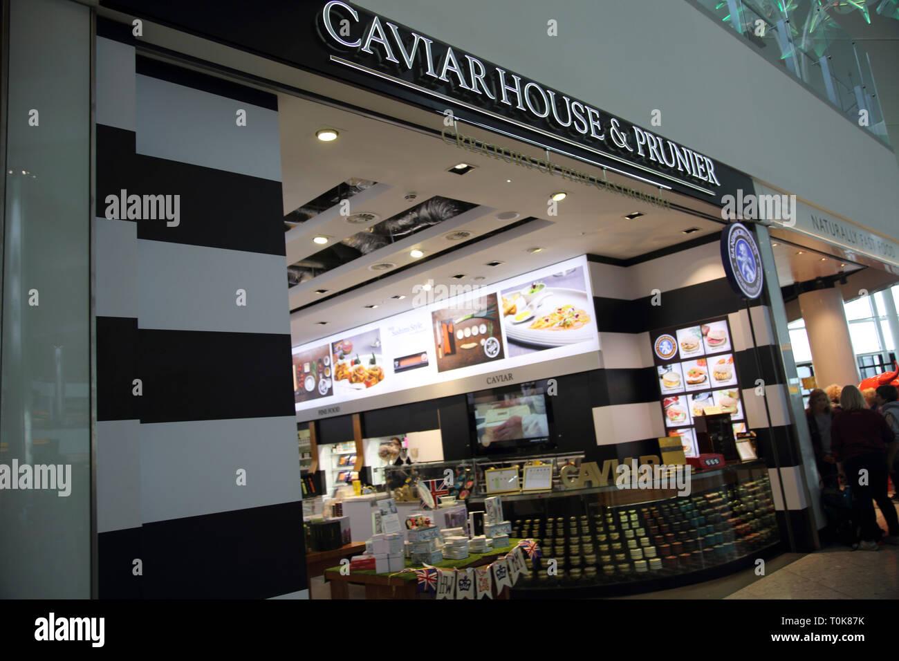 England Heathrow Airport Terminal Two Caviar House and Prunier Seafood Bar - Stock Image
