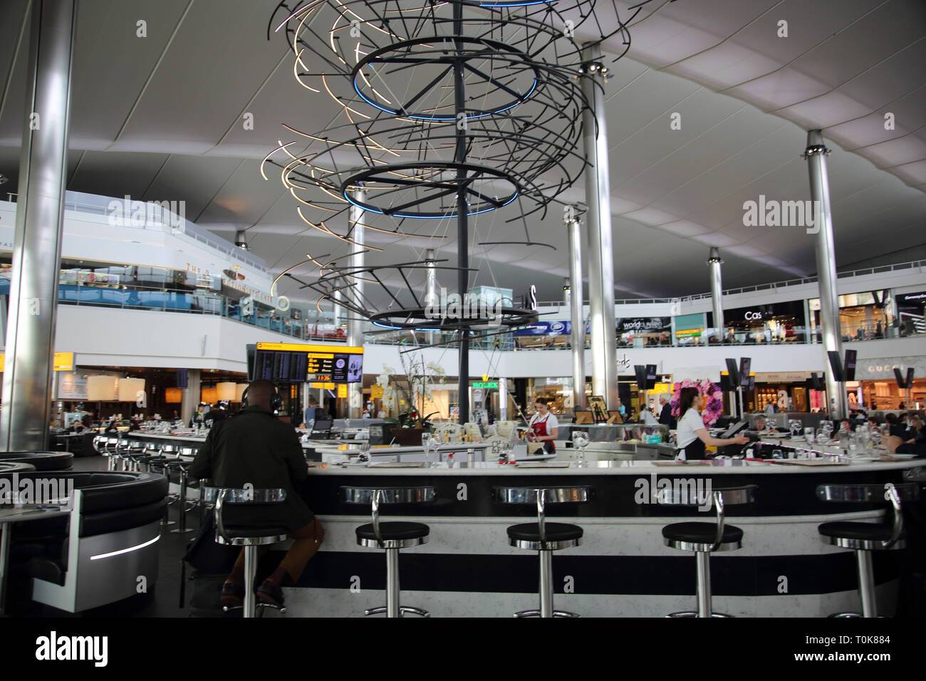 England Heathrow Airport Terminal Two Internet Cafe and Caviar House and Prunier Seafood Bar - Stock Image