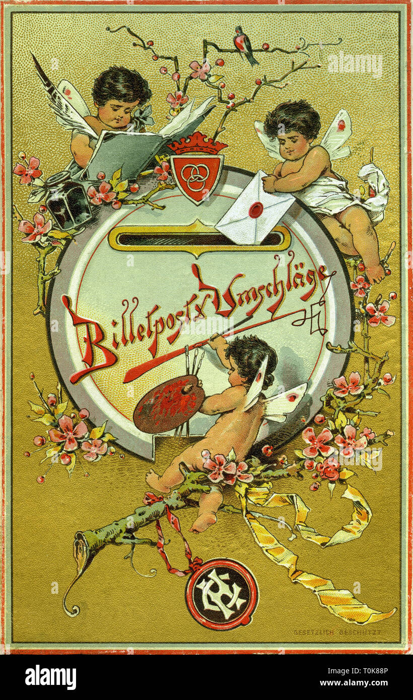 stationery, billet mail & envelopes, decorative cover sheet for package with envelopes, little angel writing letter and throw them in the mailbox, lithograph, Germany, 1899, Additional-Rights-Clearance-Info-Not-Available - Stock Image