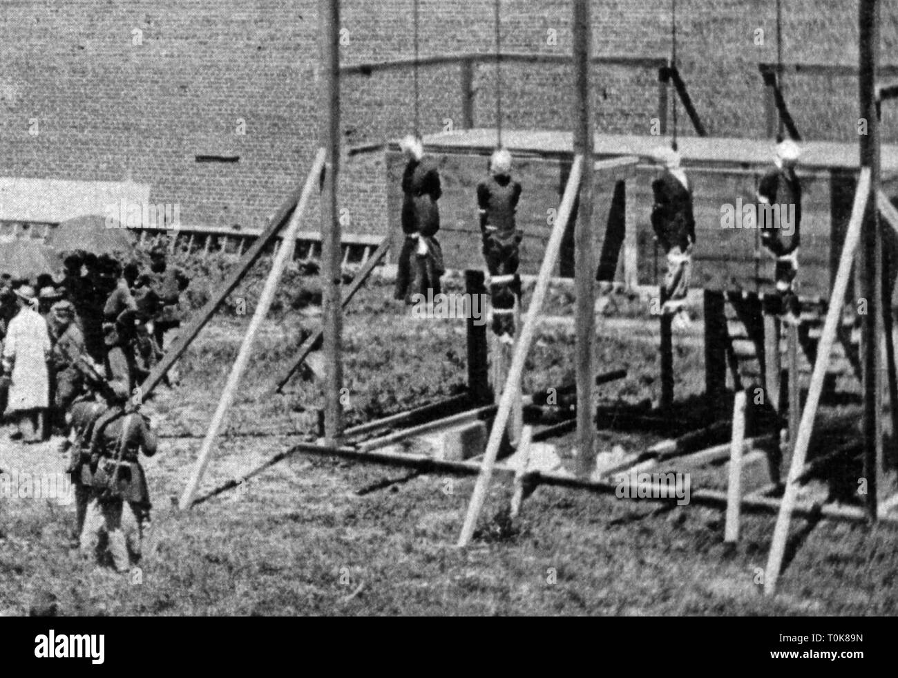 justice, penitentiary system, hanging, execution of the conspirators of the assassination of Abraham Lincoln, Fort Lesley McNair, Washington D.C., 7.7.1865, Additional-Rights-Clearance-Info-Not-Available - Stock Image