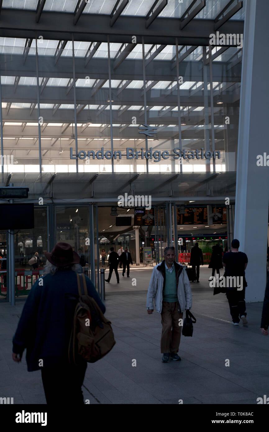 entrance to london bridge station london england - Stock Image