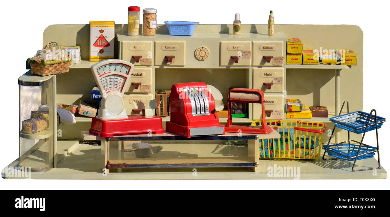 toys, grocery, children's toy shop, assortment of goods from 1960, Germany, circa 1960, Additional-Rights-Clearance-Info-Not-Available - Stock Image