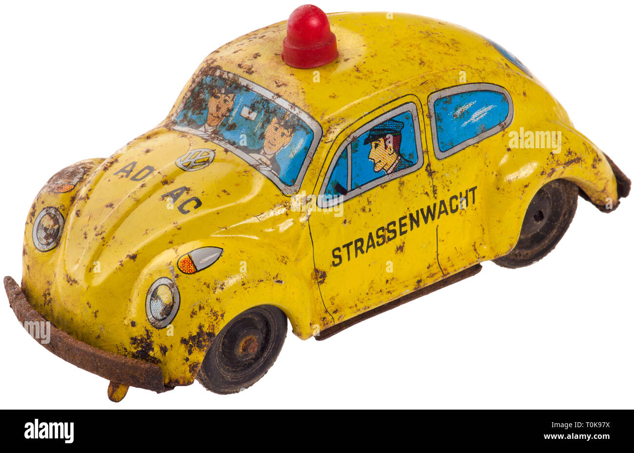 toys, toy car, ADAC road patrol, old tin toys, VW beetle, Germany, circa 1963, Additional-Rights-Clearance-Info-Not-Available - Stock Image
