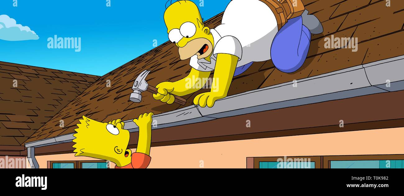 Bart Homer Simpson The Simpsons Movie 2007 Stock Photo Alamy