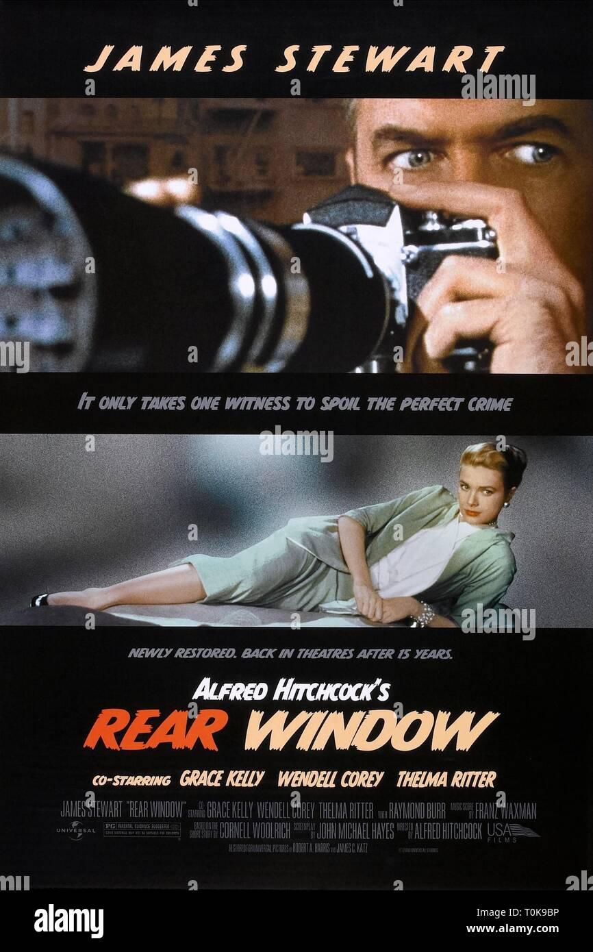 JAMES STEWART, GRACE KELLY POSTER, REAR WINDOW, 1954 - Stock Image