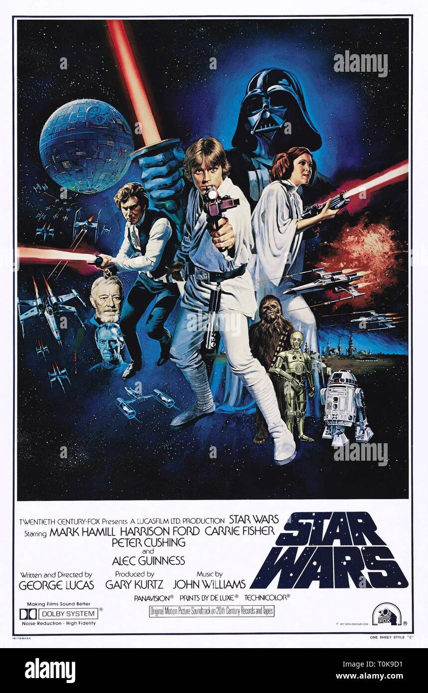 STAR WARS, PETER CUSHING, ALEC GUINNESS, HARRISON FORD, MARK HAMILL, DAVID PROWSE, PETER MAYHEW, ANTHONY DANIELS, KENNY BAKER , CARRIE FISHER POSTER - Stock Image