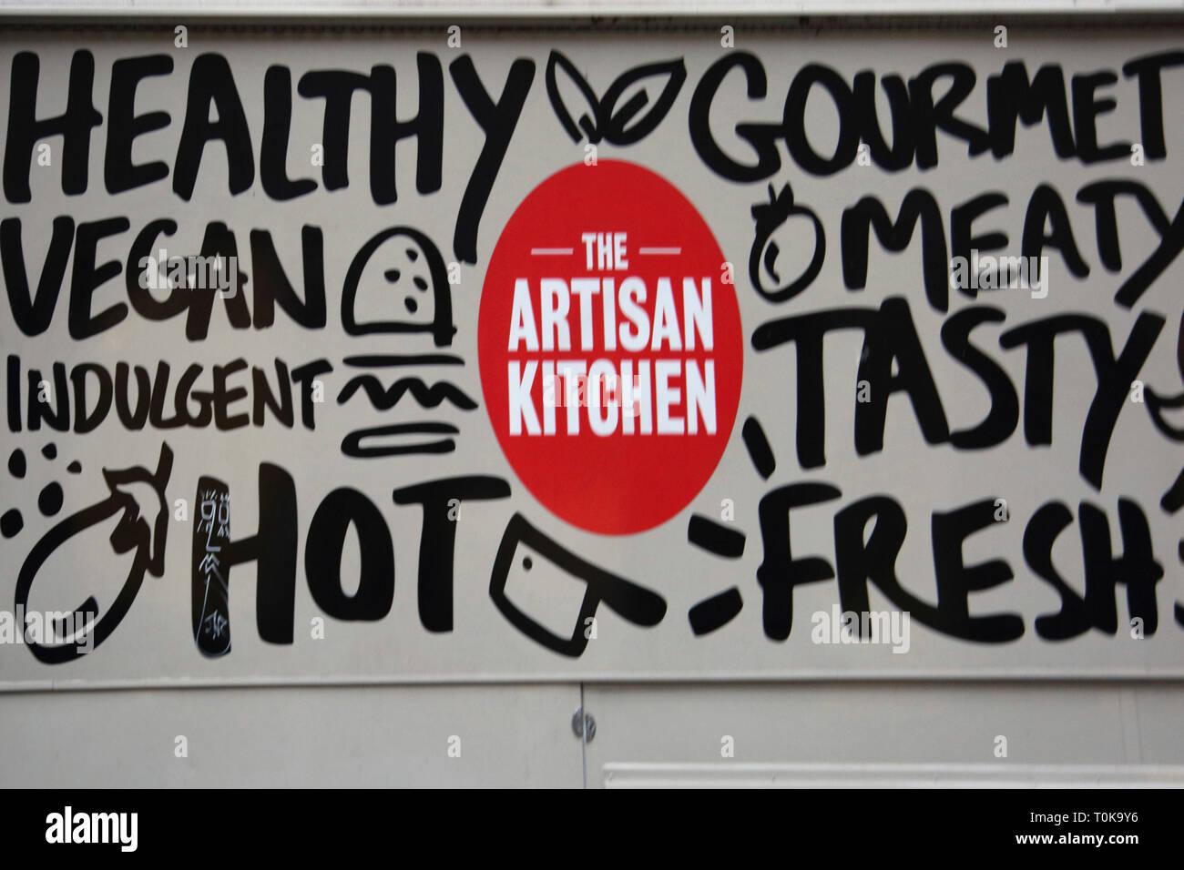 Southwark London England The Artisan Kitchen Van Selling Vegan Gourmet Food Outside Guy's Hospital - Stock Image