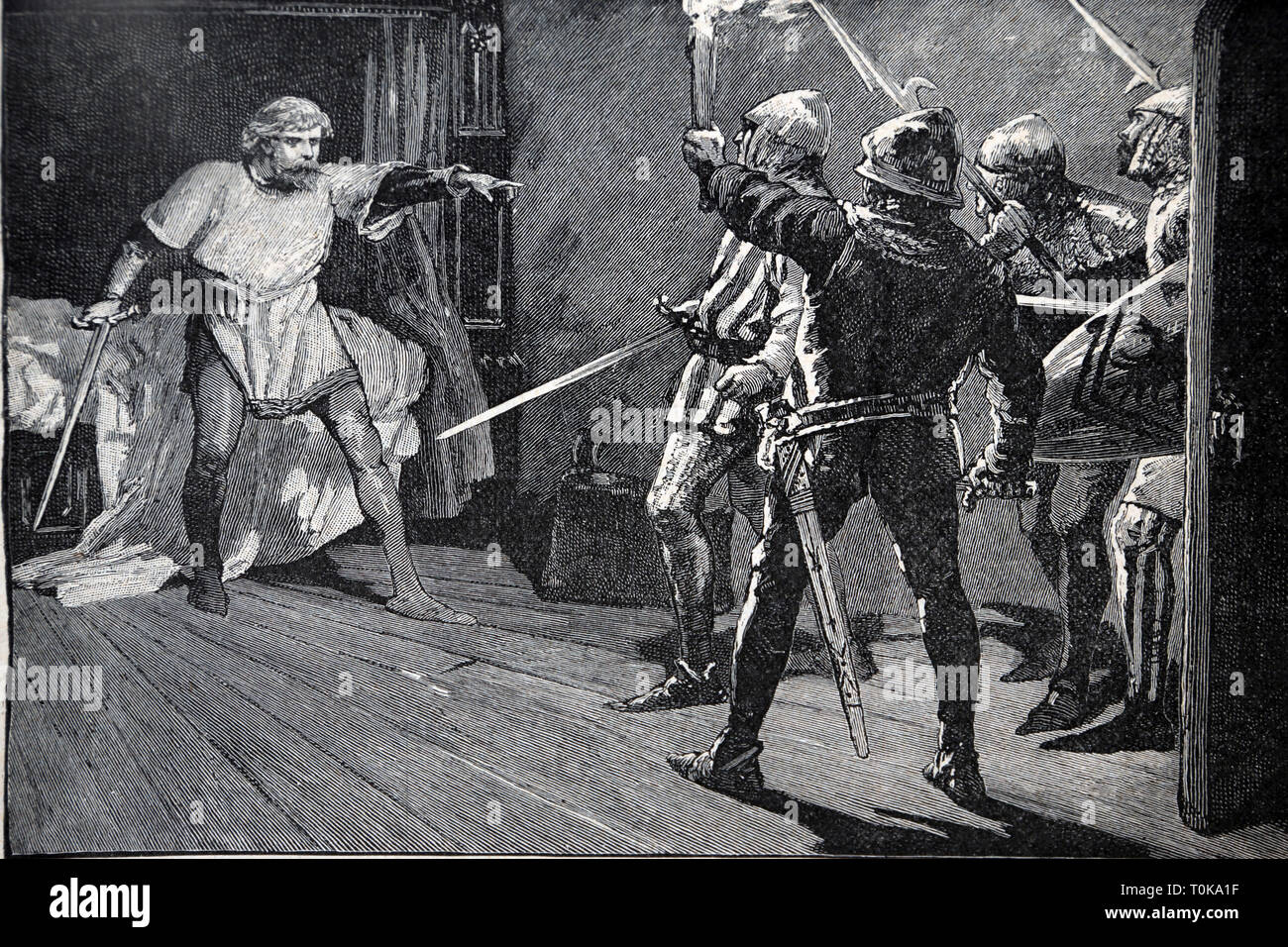 Illustration Of King Richard I being Assailed by Austrian Soldiers near Vienna in 1192 A.D from the book Cassell's History of England - Stock Image