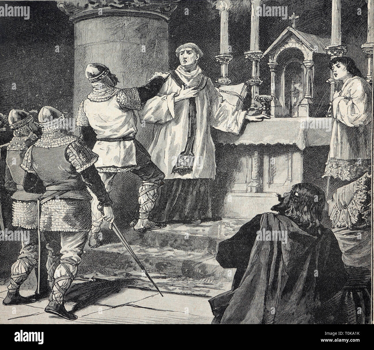 Illustration of the Arrest of Archbishop Geoffrey During Mass in Monastery at Dover in 1191 A.D from the Book Cassel's History of England  - Archbisho - Stock Image