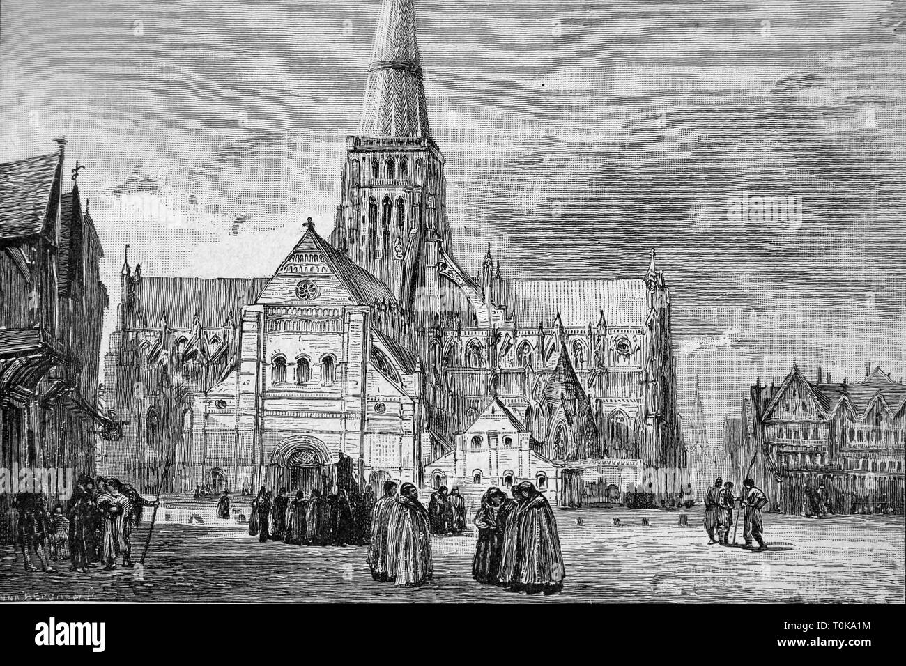 Illustration of the South-West view of the Old St Paul's Cathedral in 1191 showing the Chapter House from the book Cassell's History of England - Stock Image
