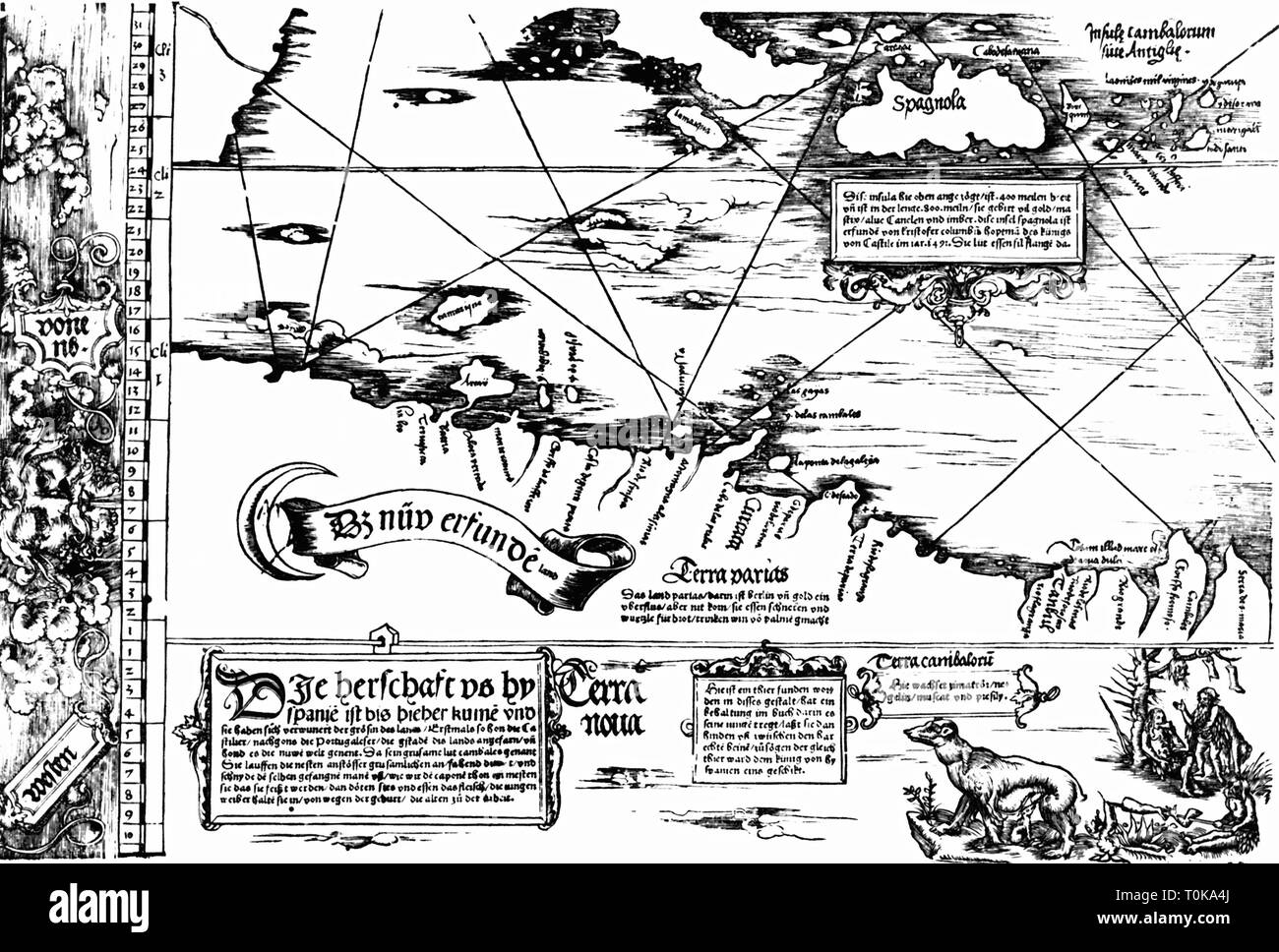 cartography, map, Caribbean and north coast of Venezuela, 'Carta Marina Navigatoria Portugallensis', detail, woodcut, Germany, 1525, Additional-Rights-Clearance-Info-Not-Available - Stock Image