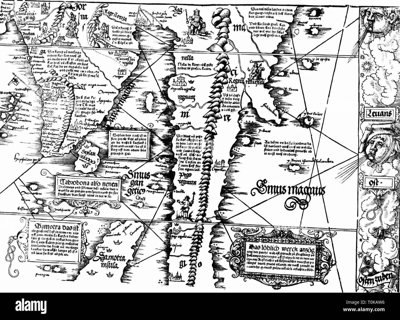 cartography, maps, South India and South-East Asia, 'Carta Marina Navigatoria Portugallensis', detail, woodcut, Germany, 1525, Additional-Rights-Clearance-Info-Not-Available - Stock Image