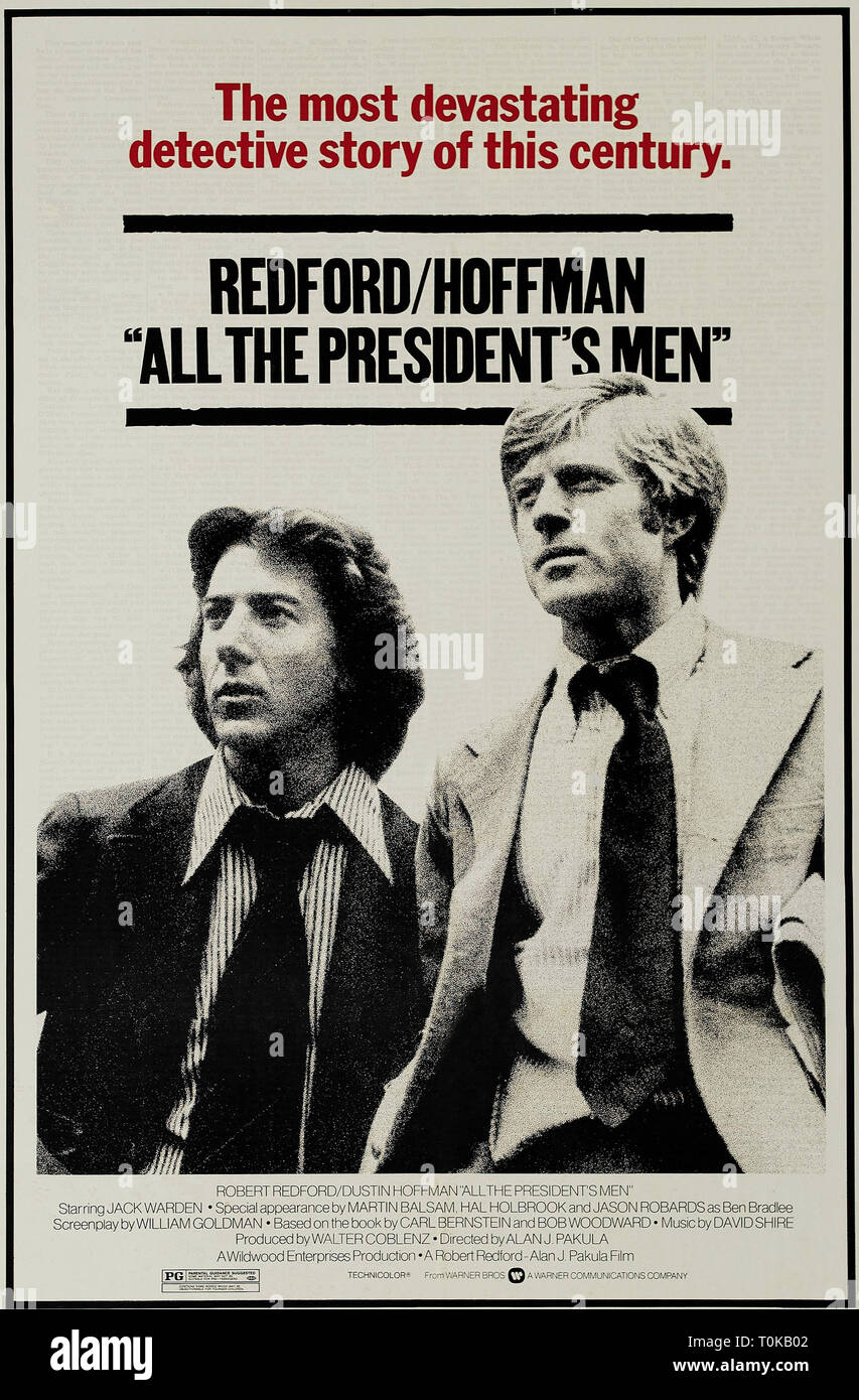 DUSTIN HOFFMAN, ROBERT REDFORD MOVIE POSTER, ALL THE PRESIDENT'S MEN, 1976 - Stock Image