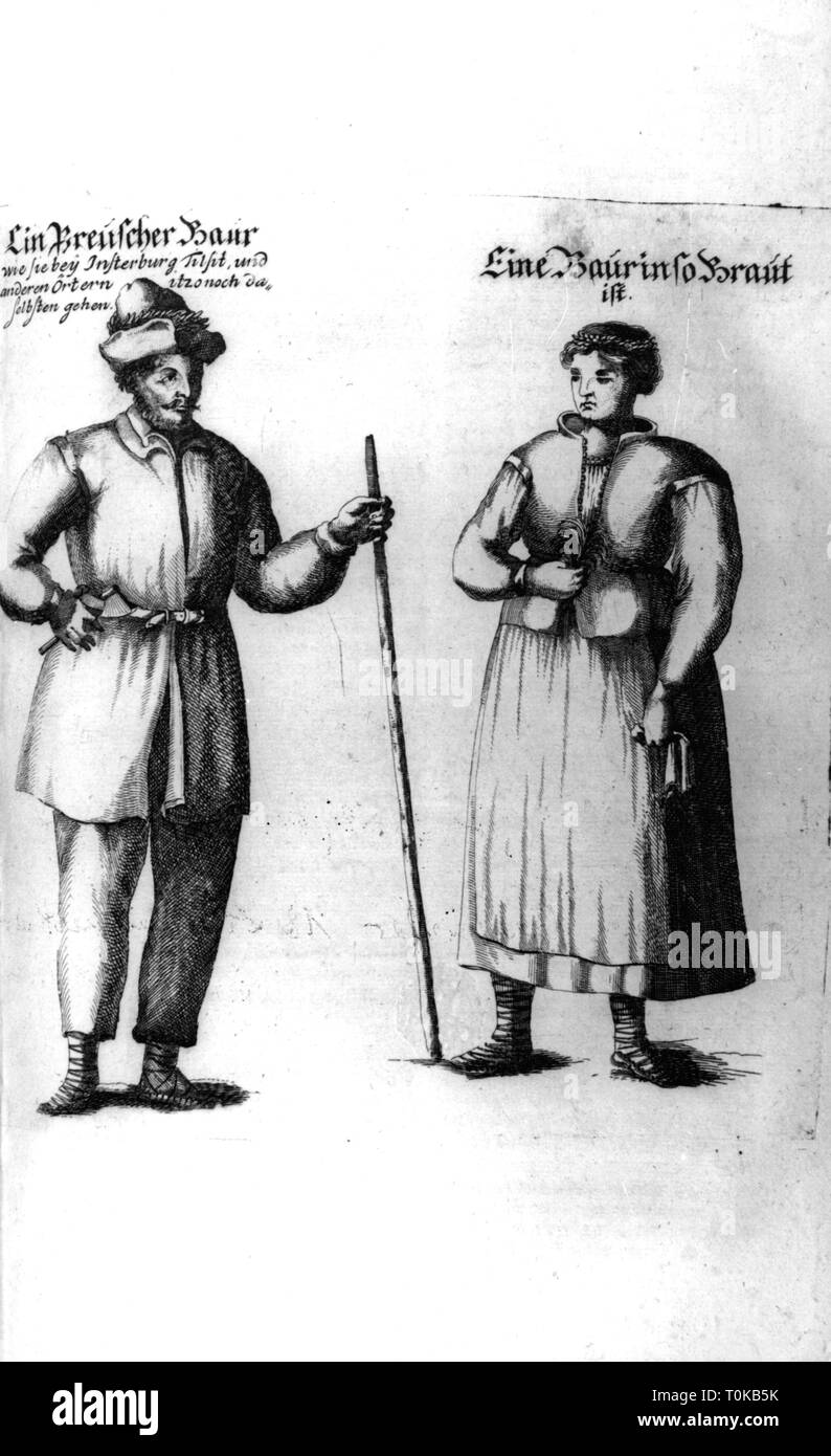 agriculture, farmer, East Prussian peasant couple, copper engraving, 17th century, out of: Christoph Hartknoch, 'Alt- und Neues Preussen', Frankfurt - Leipzig, 1684, Additional-Rights-Clearance-Info-Not-Available - Stock Image
