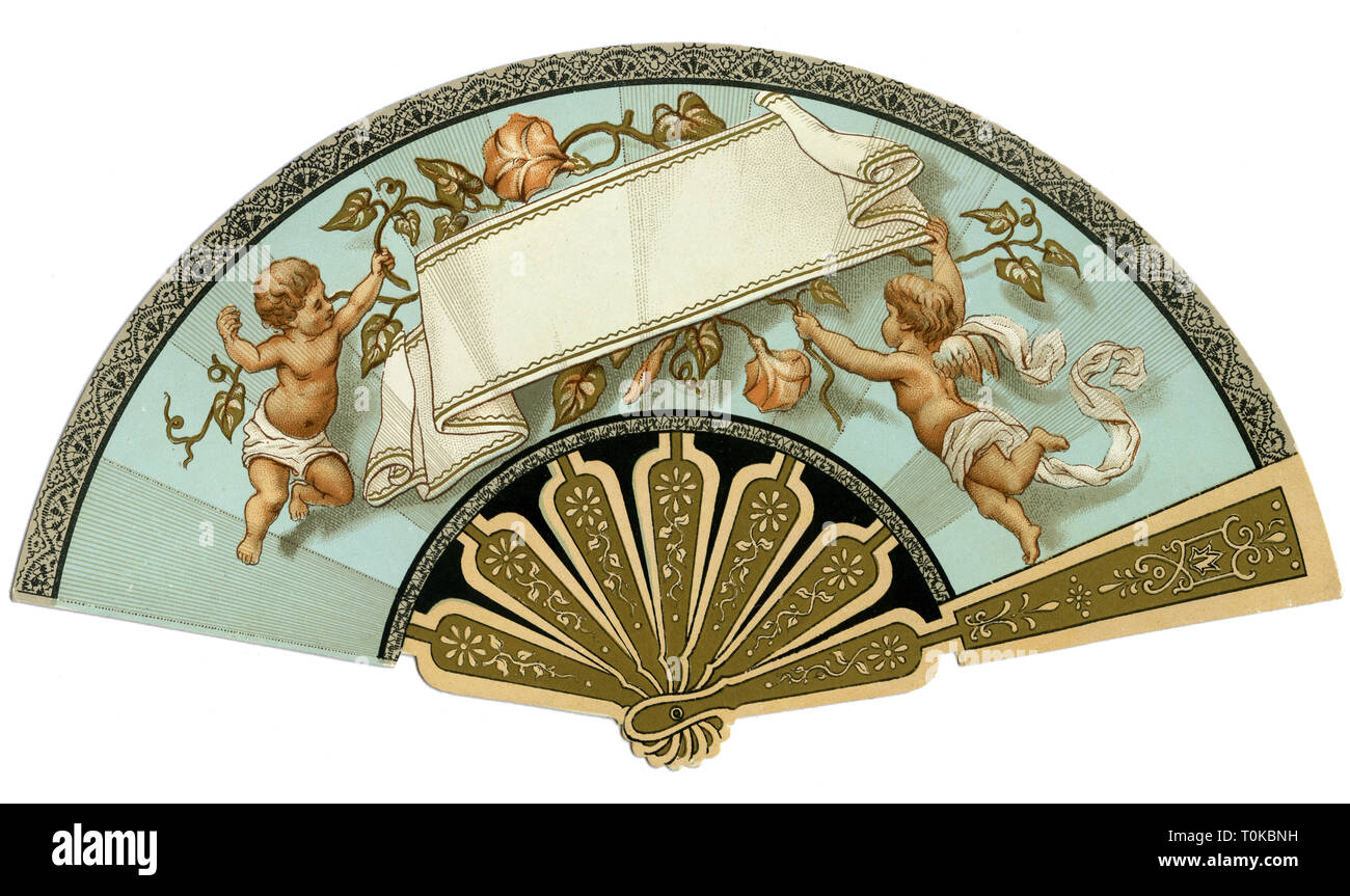 fashion, accessoires, fan, deco, scrap-picture, Germany, circa 1895, Additional-Rights-Clearance-Info-Not-Available - Stock Image