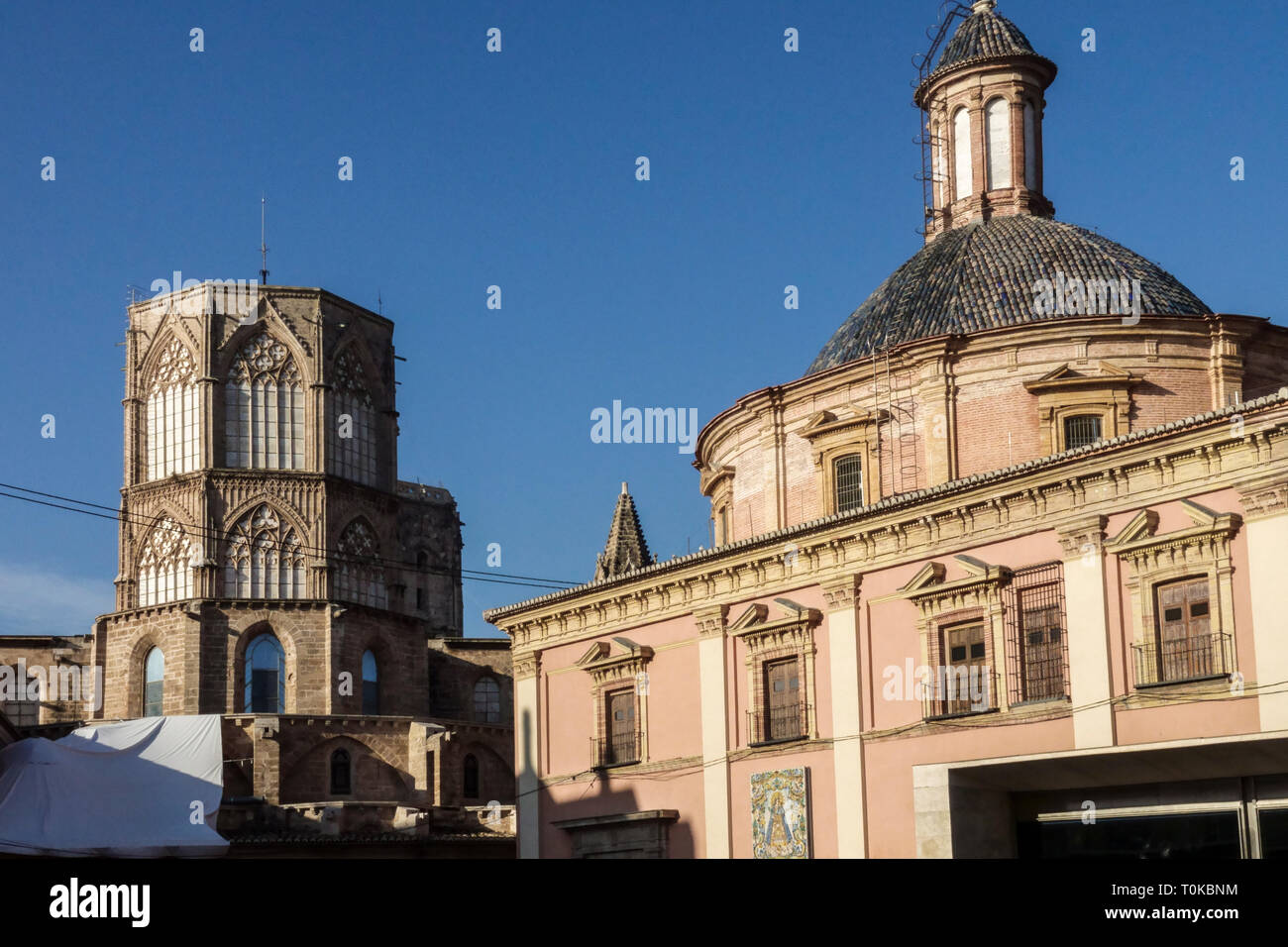 Cathedral Tower and Basílica de la Mare de Déu dels Desamparats, Basilica of Our Lady of the Forsaken, Valencia Spain - Stock Image