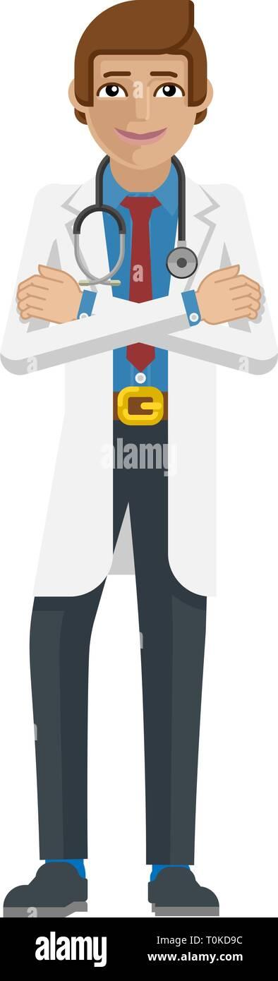 Young Medical Doctor Cartoon Mascot - Stock Image