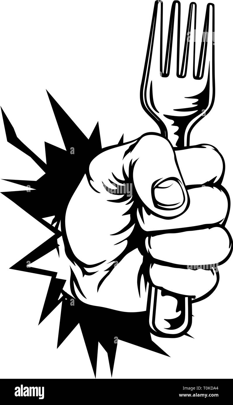 Hand Holding Fork Breaking Background - Stock Image