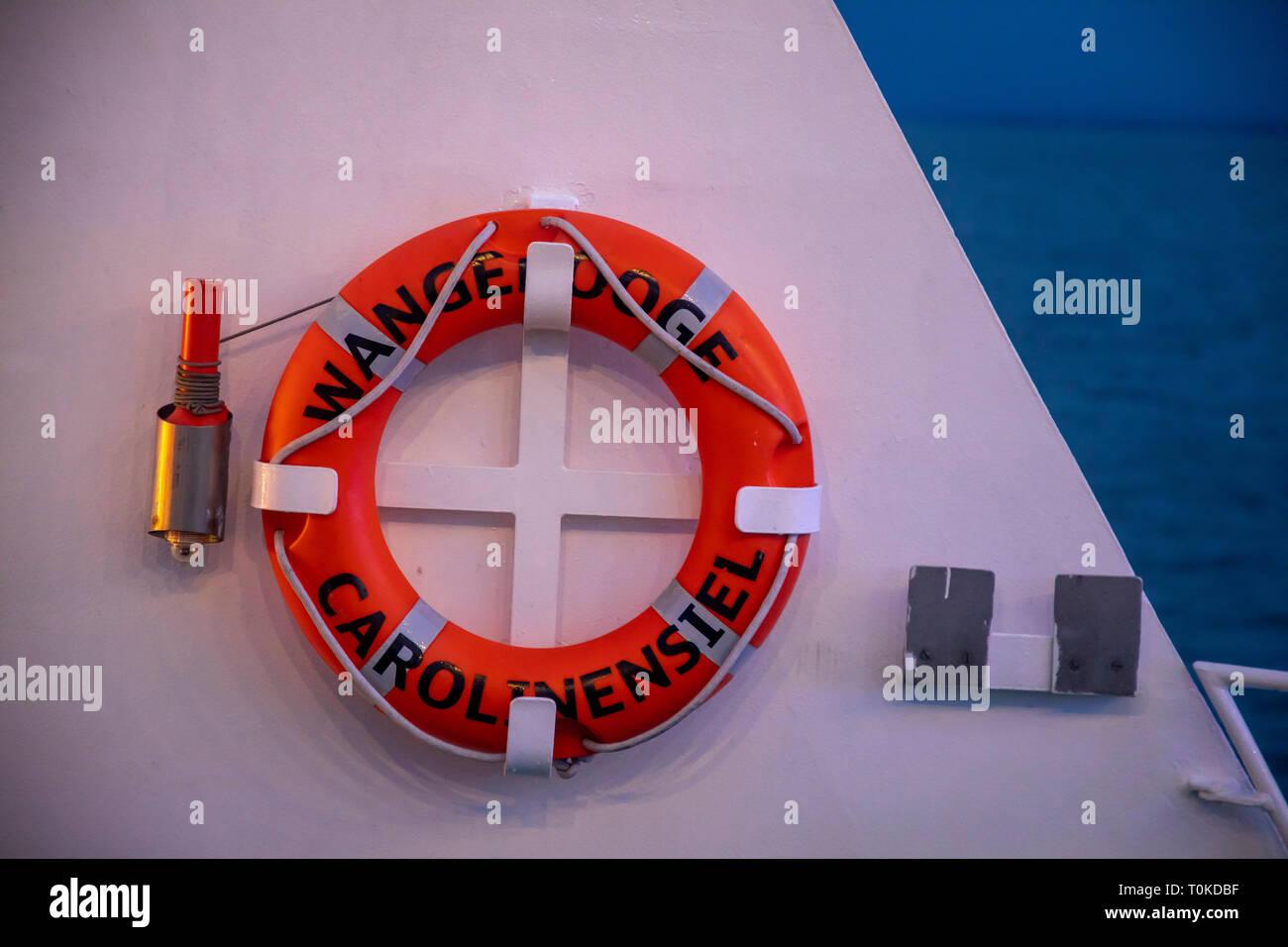 Island Wangerooge, Ostfriesland, ferry to the mainland, lifebeltEast Frisia, Northern Germany, North Sea Coast, - Stock Image