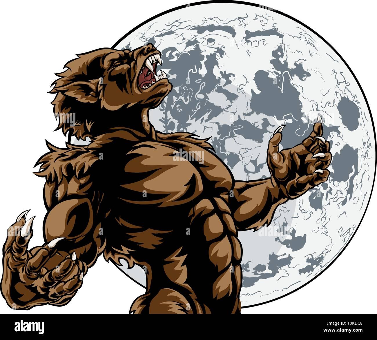 Howling Full Moon Werewolf Monster - Stock Image