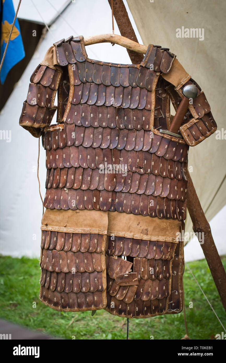 Leather armor worn by slavic warriors - Stock Image