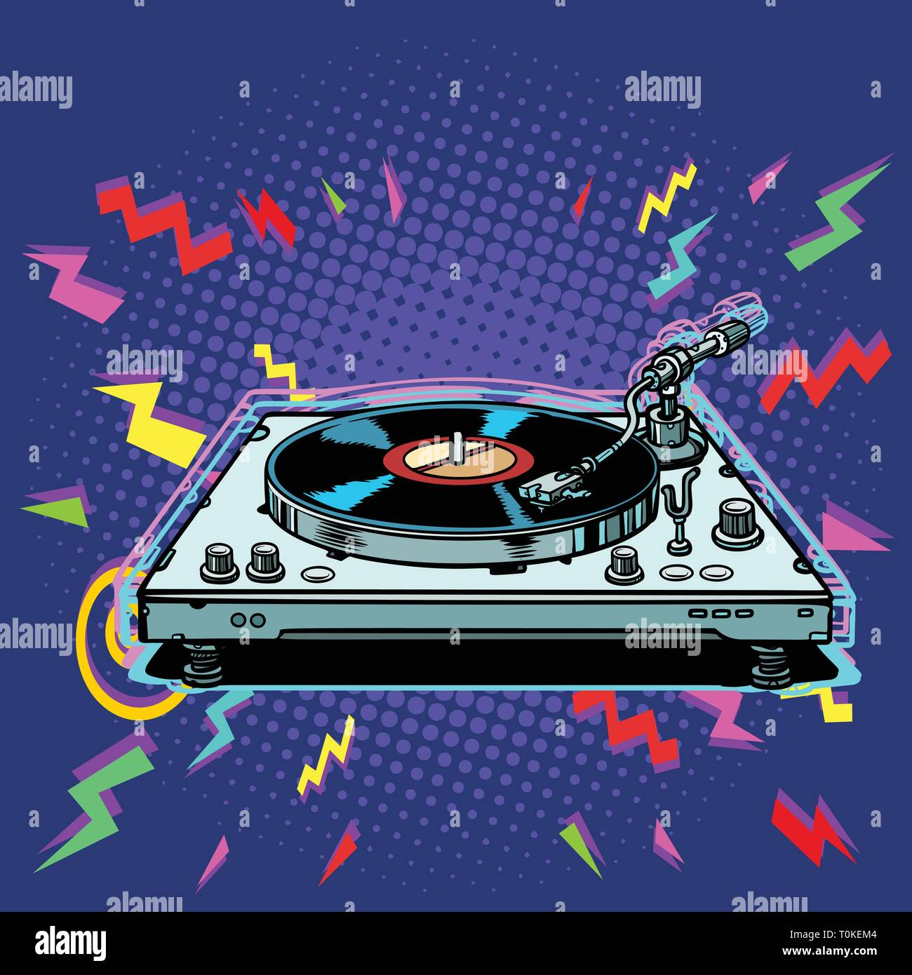 vinyl record player eighties style - Stock Vector