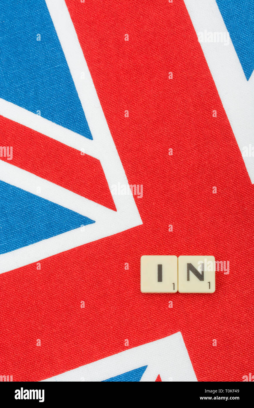 Union Jack with In/Out Brexit motif, with regard to staying in or exiting the EU, and the Cancel Brexit petition. - Stock Image