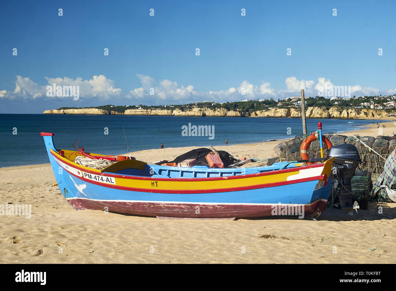 Fishing boat in Armação de Pera, Faro, Portugal - Stock Image