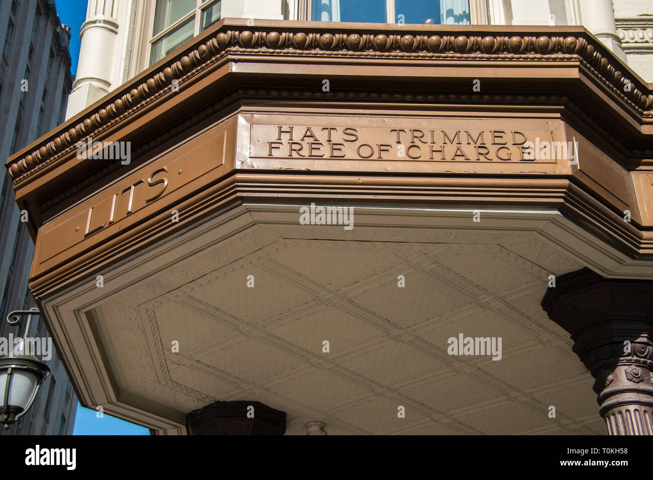 Philadelphia, Pennsylvania - February 5, 2019: The marquee from the now closed famous Litts Brothers store in Philadelphia as seen on this date. Sign  - Stock Image
