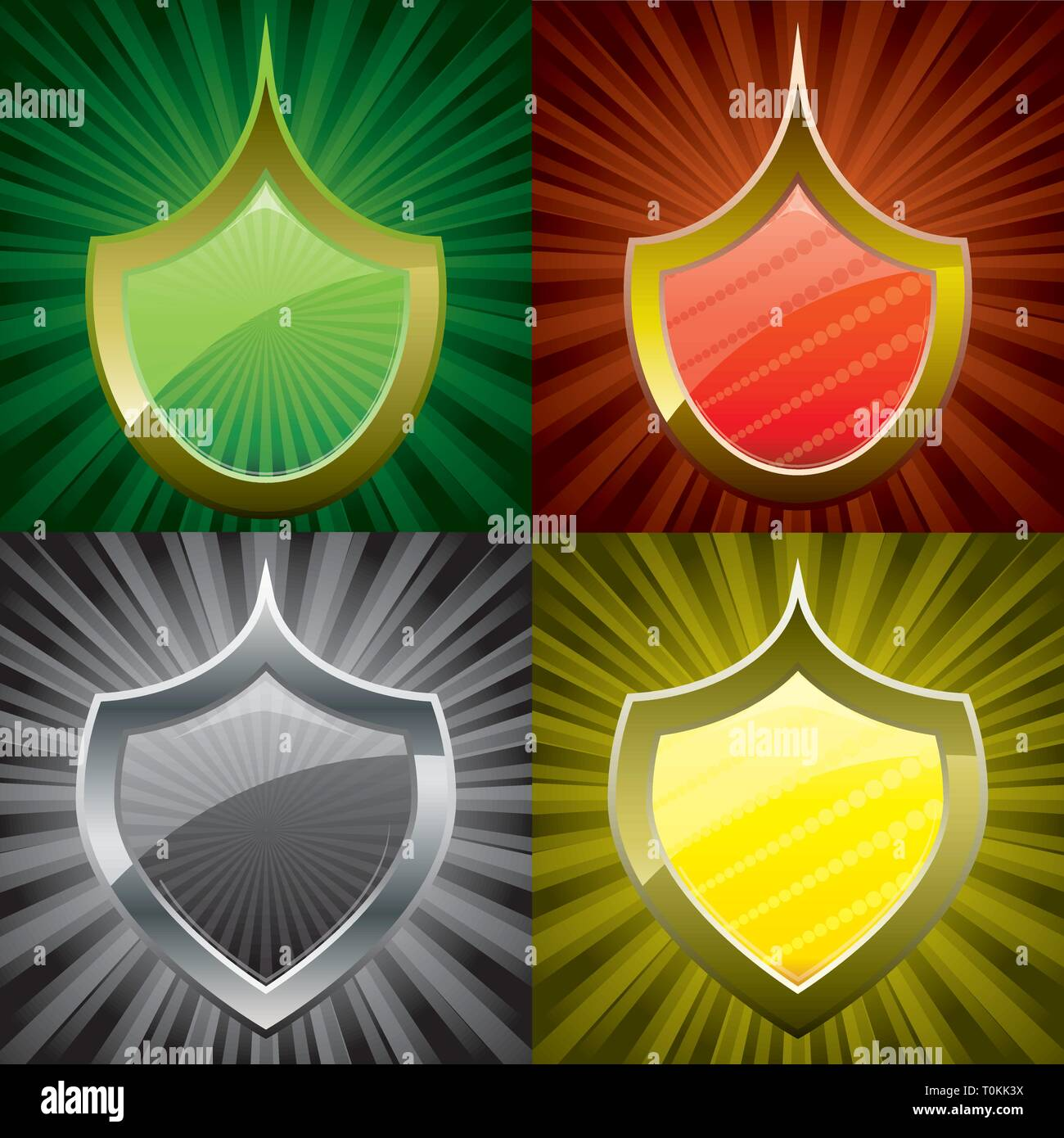 Set of security shields, coat of arms symbol icon, green, red, yellow, black, vector illustration - Stock Vector