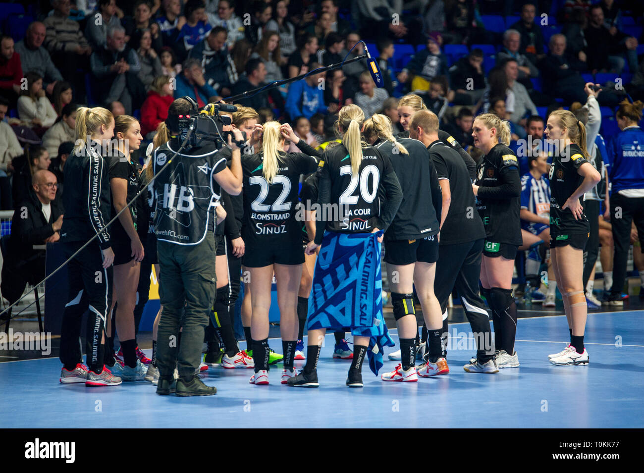 Odense HC Time Out on match against Buducnost Podgorica, Women Champions League - Stock Image
