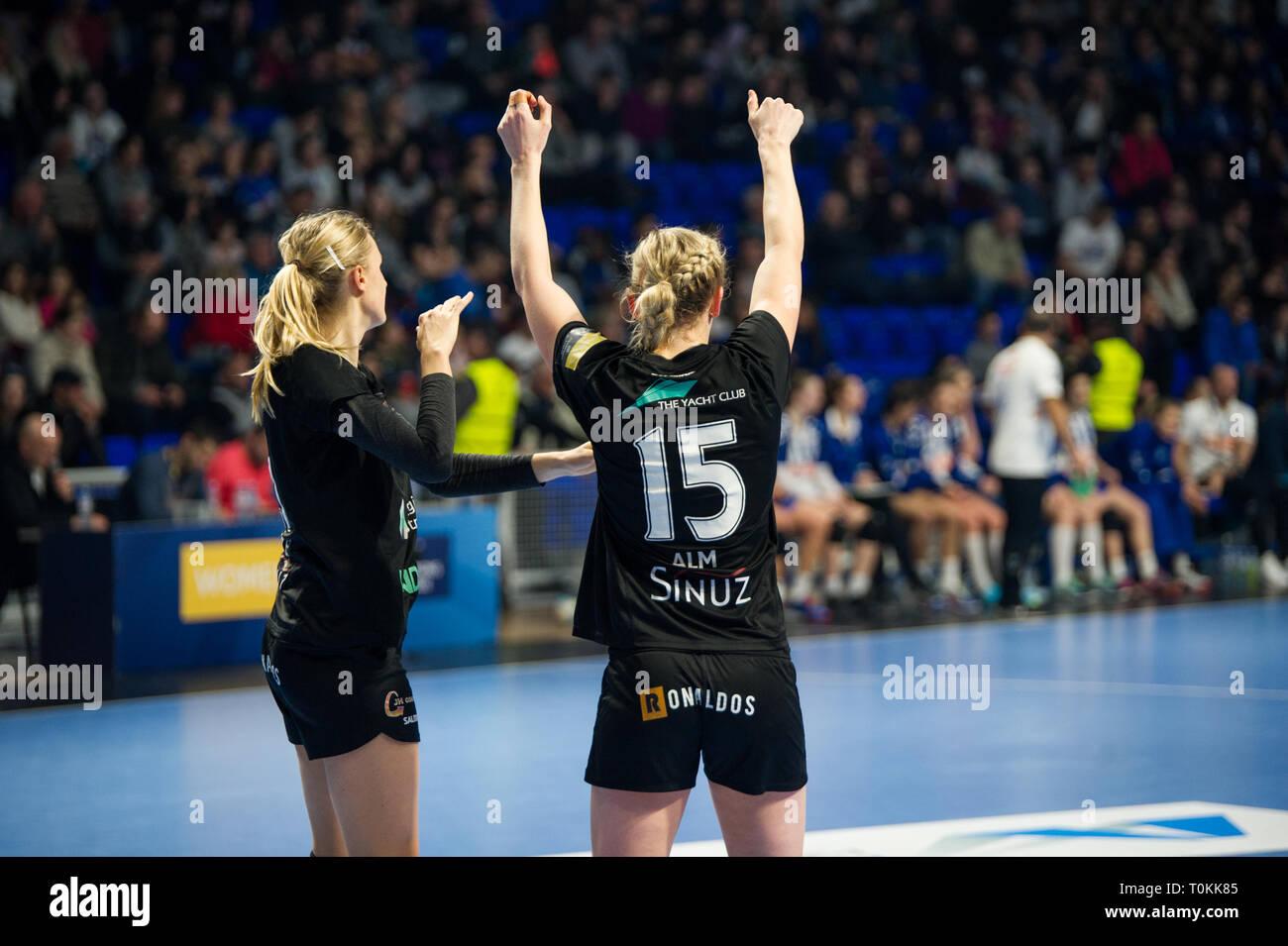 Odense HC player celebrate goal - Stock Image