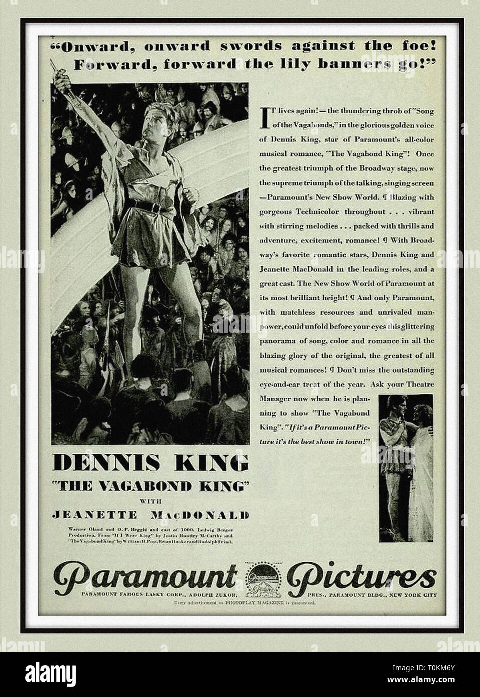 Dennis King and Jeanette MacDonald in The Vagabond King - Photoplay Feb 1930 - Vintage pre-code silent movie poster - Stock Image