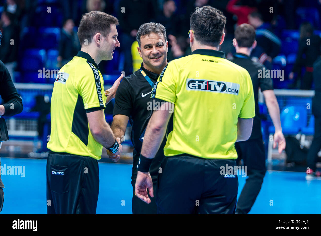 Ambros Martin in talking with referees after match against Buducnost in Champions League match - Stock Image