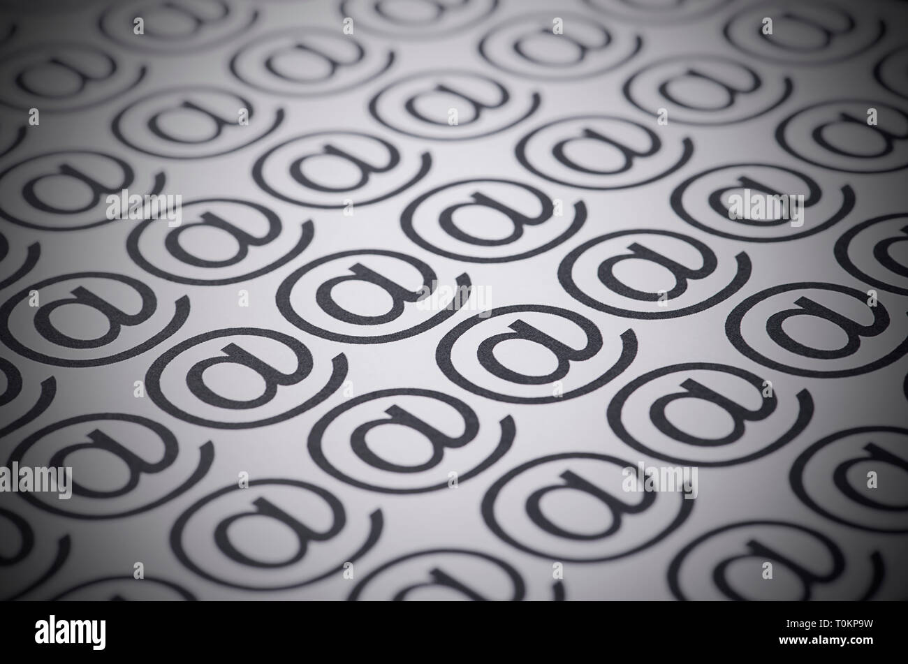 E-mail marks on a white background, selective focus image - Stock Image