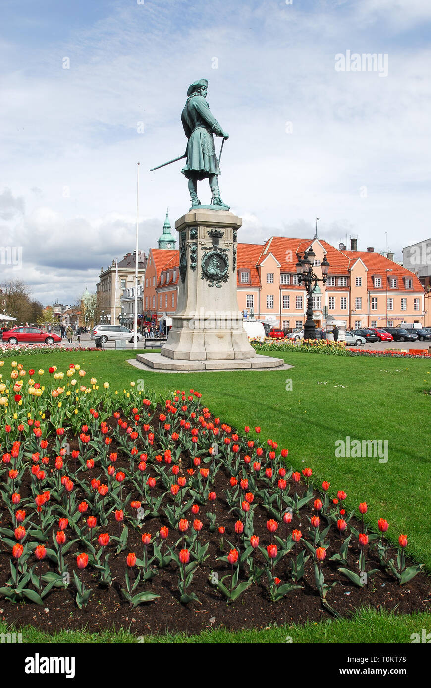 King Karl XI of Sweden statue (founder of city) on Stortorget on Trosso island listed World Heritage by UNESCO in Karlskrona, Blekinge, Sweden. May 2n - Stock Image