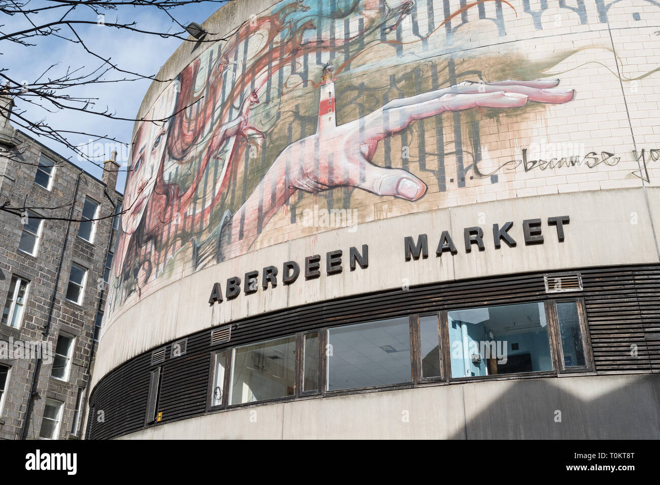 Aberdeen indoor market building with street art by Herakut, The Green, Aberdeen, Scotland, UK - Stock Image