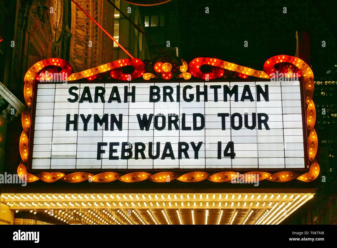 CHICAGO, IL -14 FEB 2019- View of the landmark Chicago Theater, a historic theater in the Loop Neighborhood in Chicago, Illinois. Stock Photo