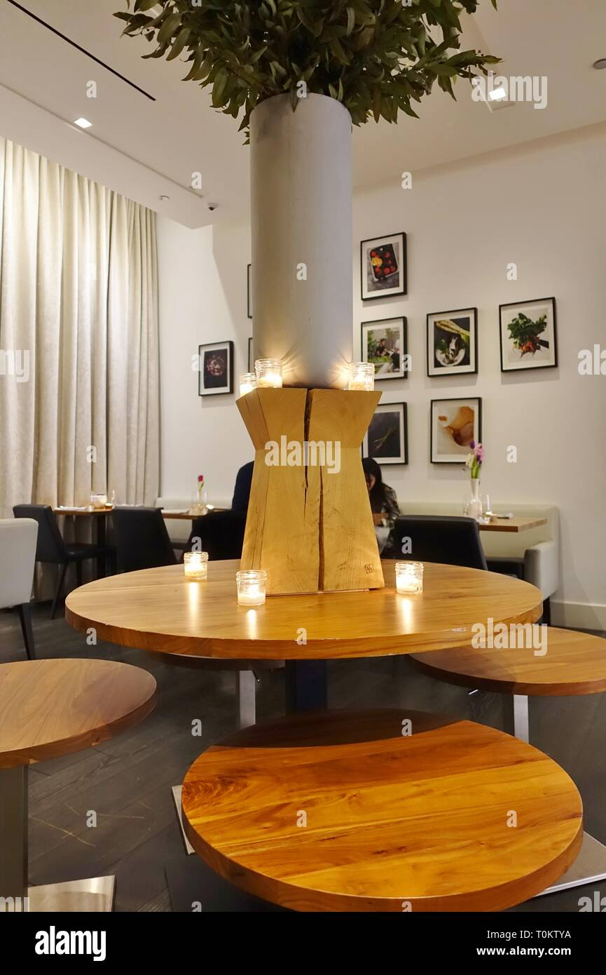 CHICAGO, IL -14 FEB 2019- View of Althea, a gourmet all plant-based vegan restaurant by Chef Matthew Kenney located on Michigan Avenue in Chicago, Ill Stock Photo