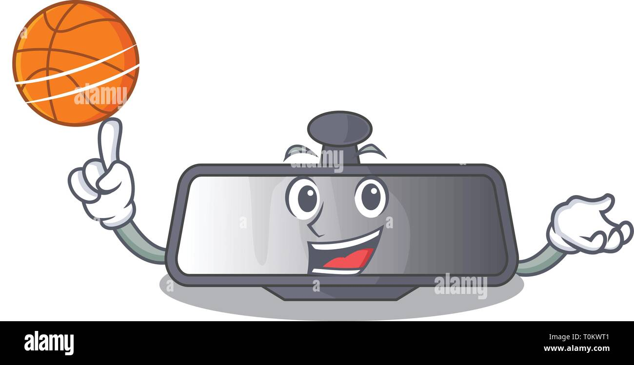 With basketball rear view mirror isolated with mascot - Stock Vector