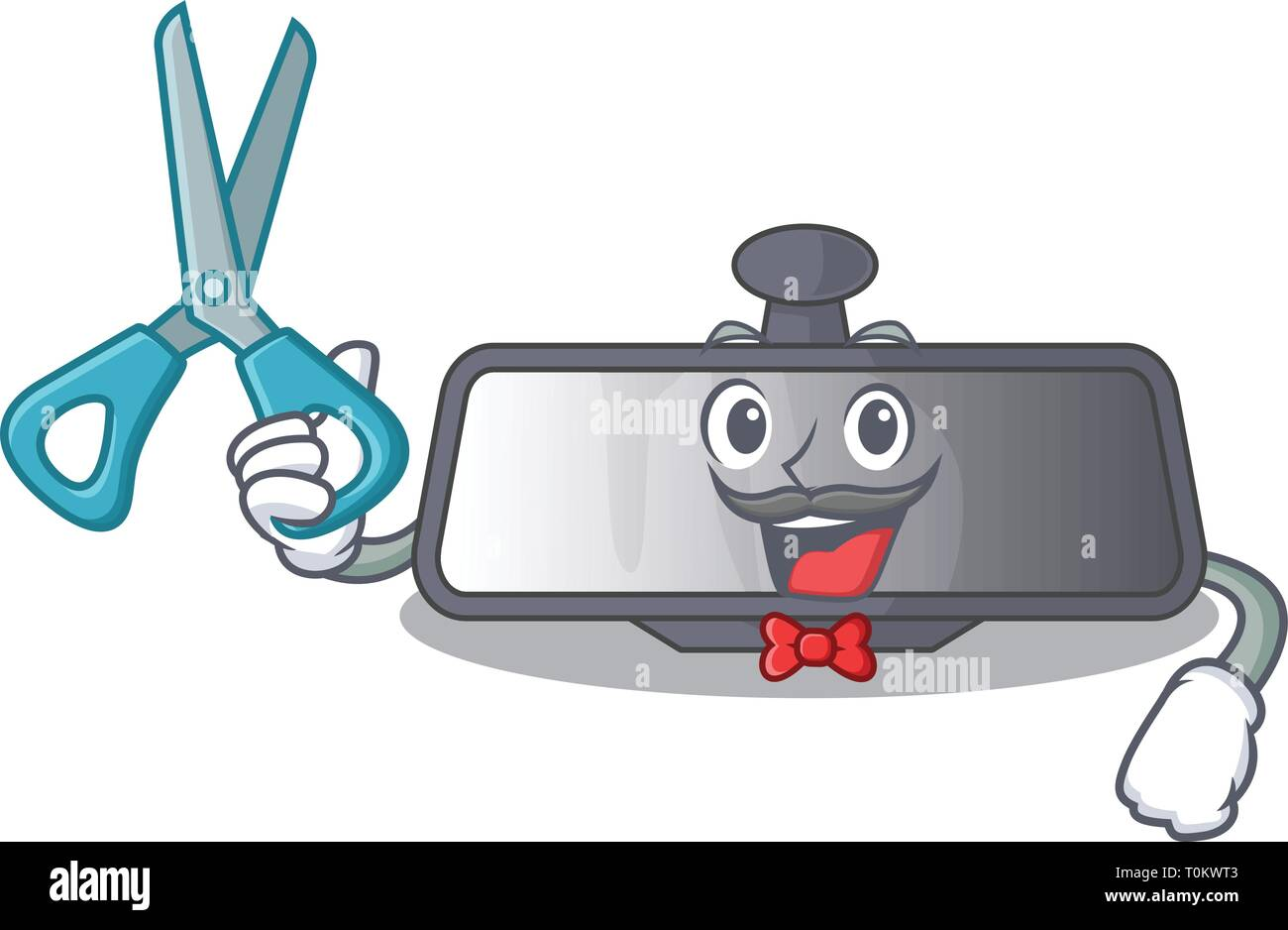 Barber rear view mirror isolated with mascot - Stock Vector