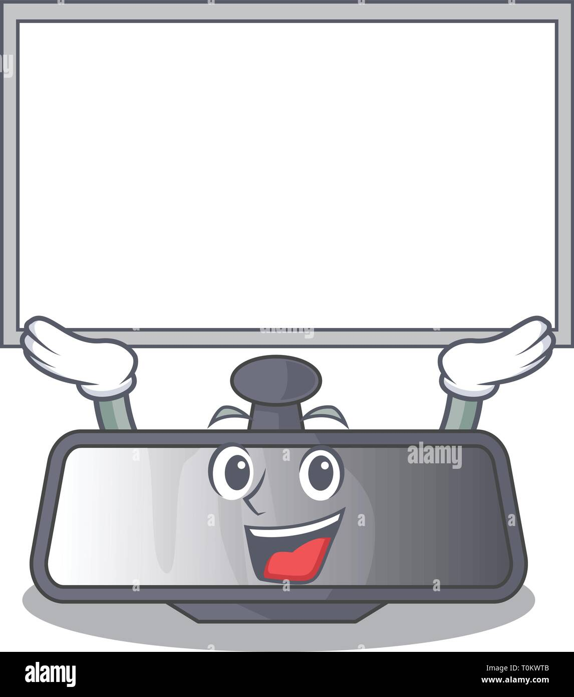 Up board rear view mirror isolated with mascot - Stock Vector