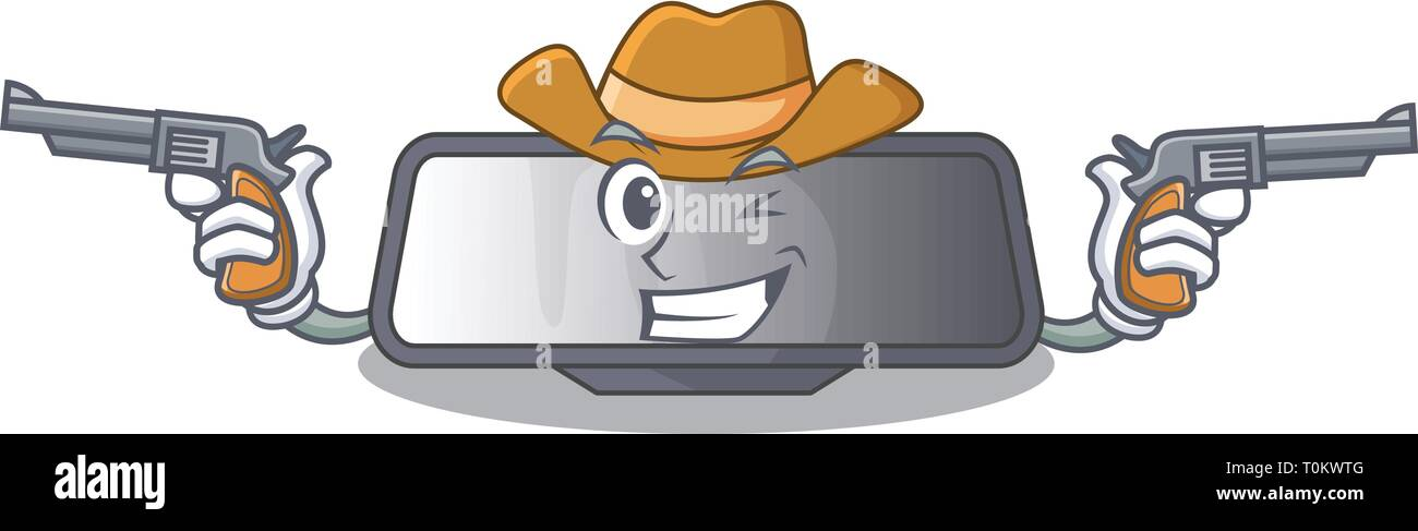 Cowboy rear view mirror isolated with mascot - Stock Vector