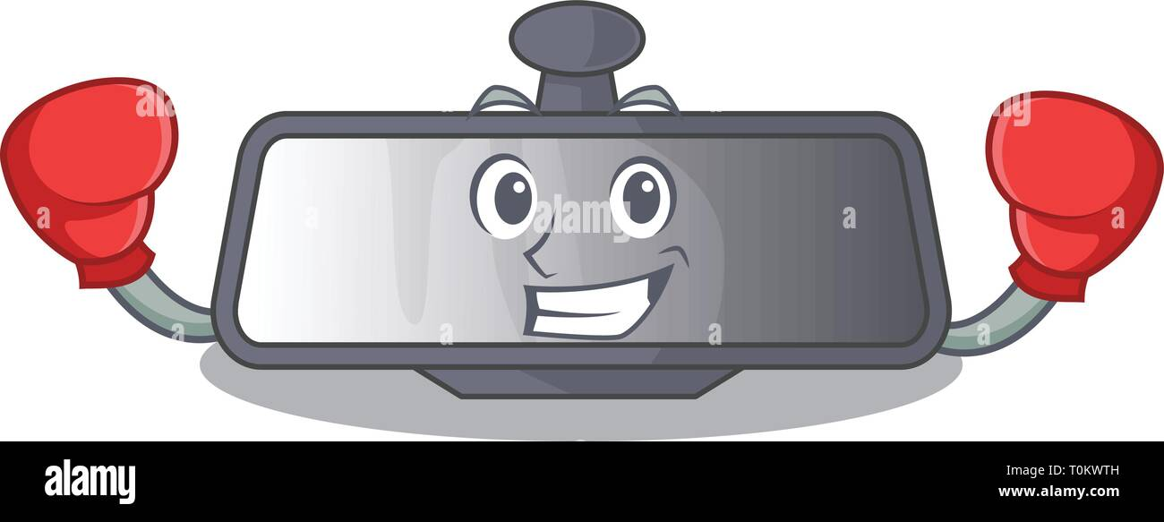 Boxing rear view mirror isolated with mascot Stock Vector