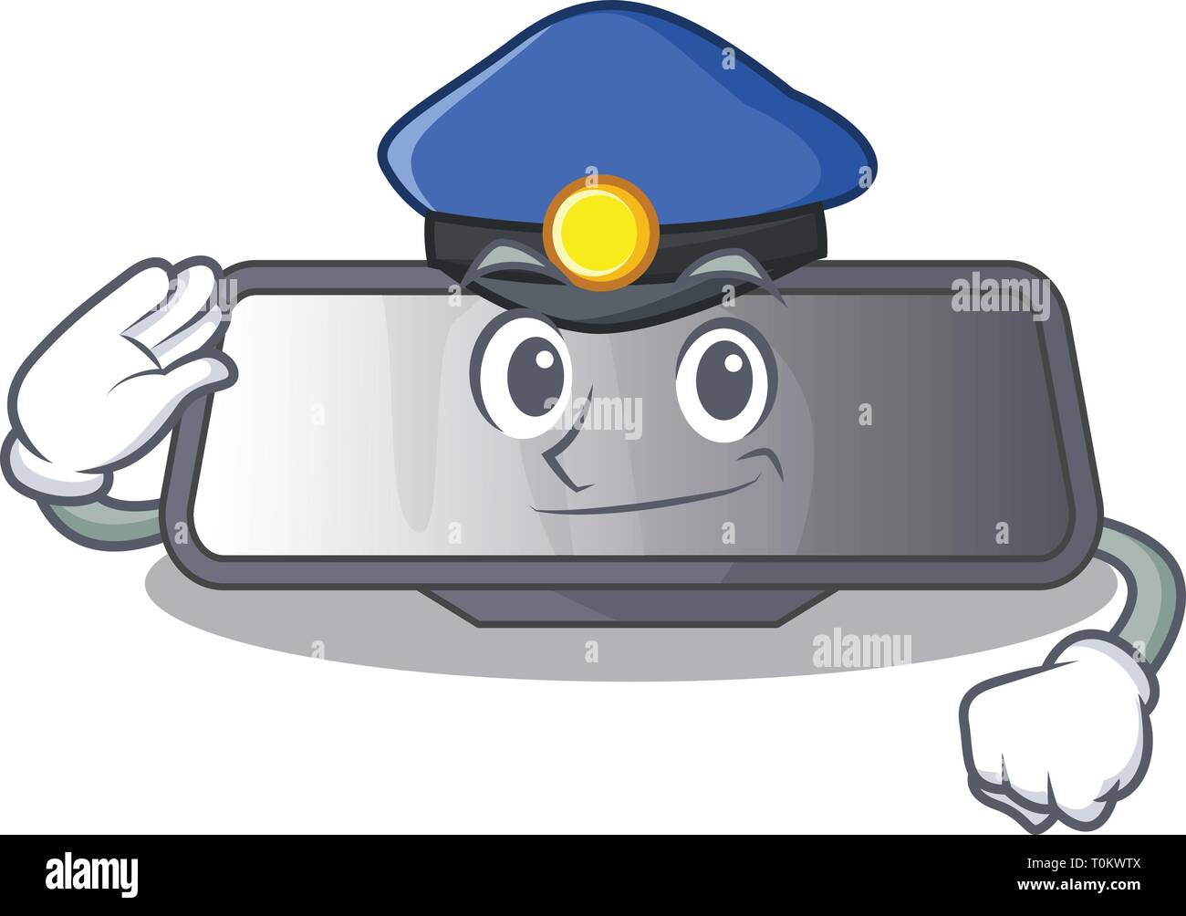 Police rear view mirror isolated with mascot - Stock Vector