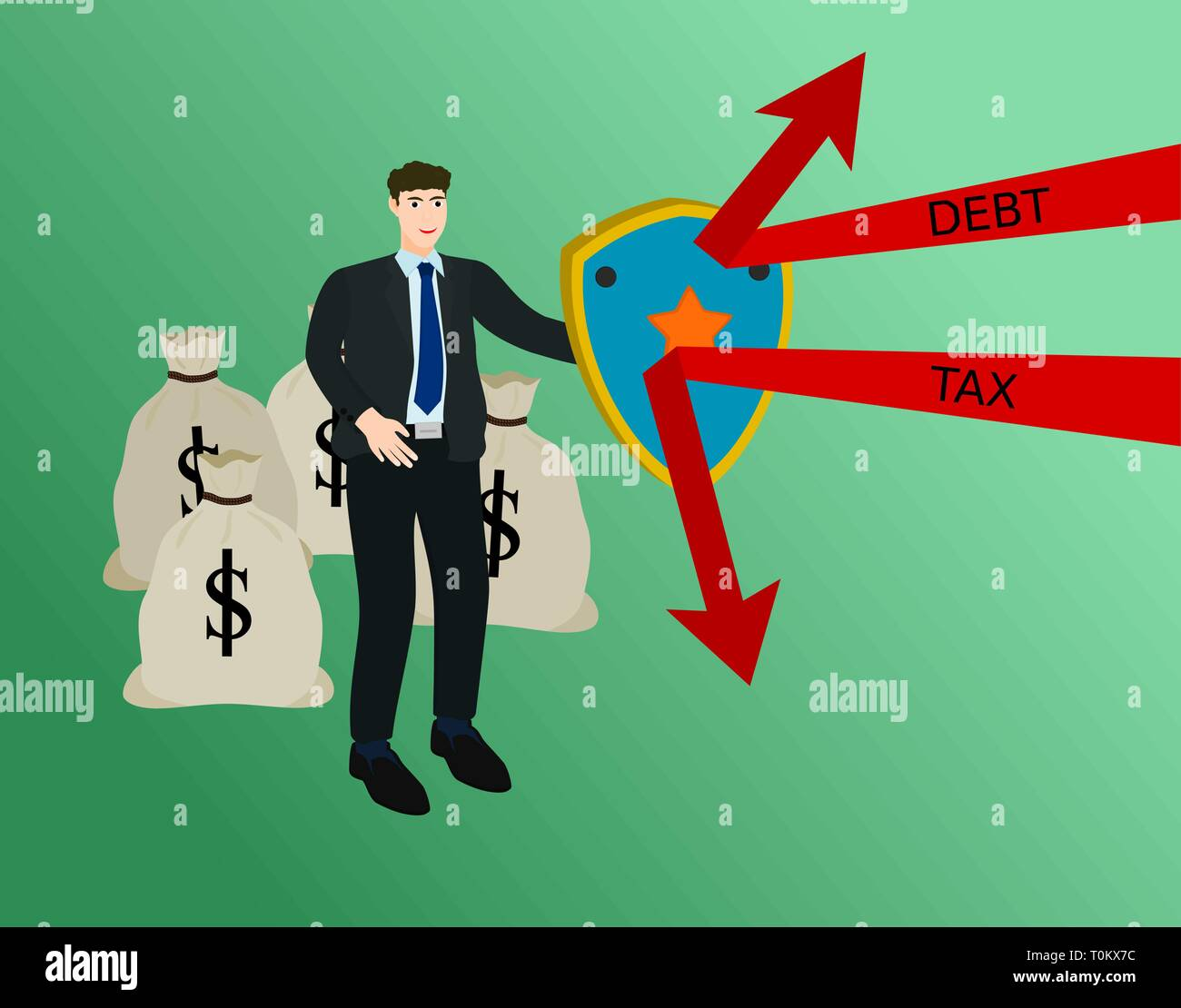 Businessman protect profit money from tax and debt ,success concept - Stock Vector